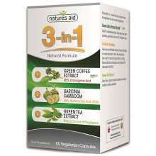 Natures Aid 3-IN-1 Natural Formula With Green Coffee (Svetol®), Garcinia Cambogia And Green Tea 60 Vcaps